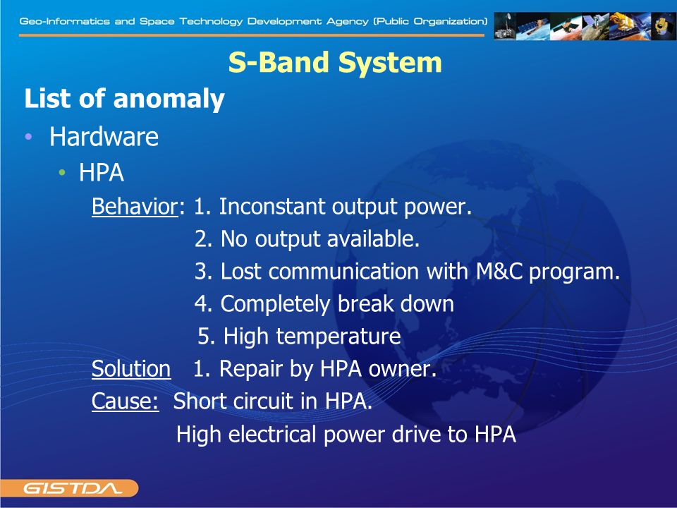 List of anomaly Hardware HPA Behavior: 1. Inconstant output power. 2. No output available. 3. Lost communication with M&C program. 4. Completely break