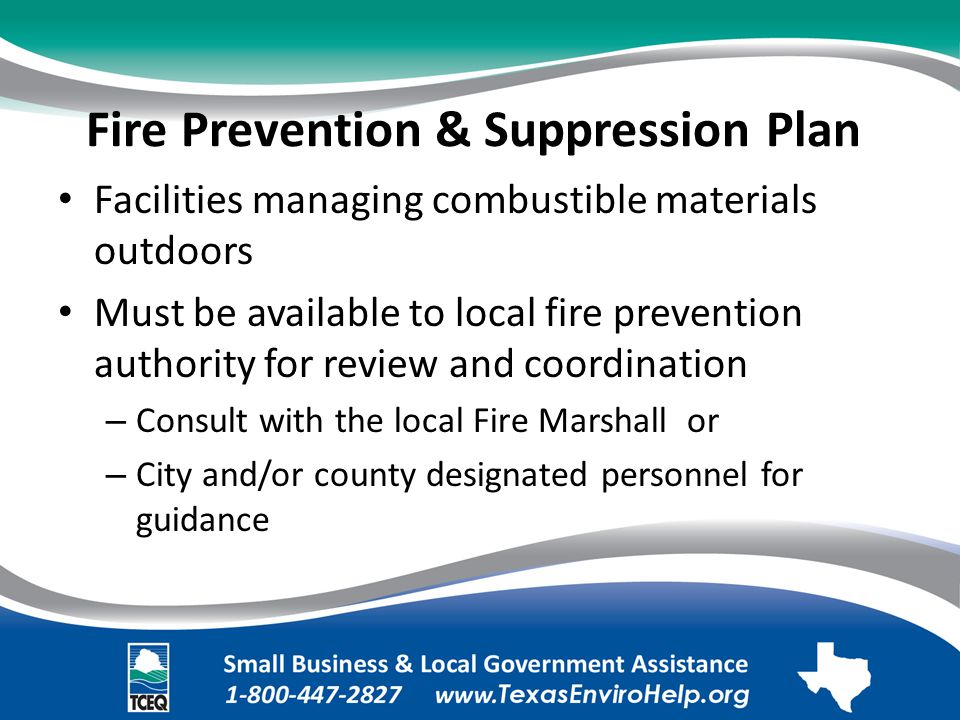 Fire Prevention & Suppression Plan. Facilities managing combustible materials outdoors.