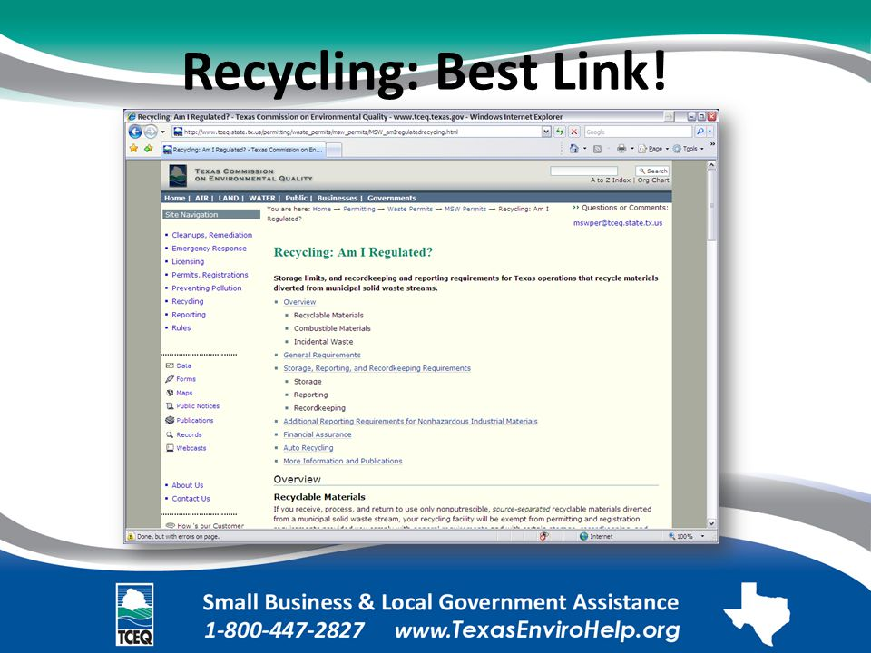 Recycling: Best Link! Image of Web page: Recycling: Am I Regulated?