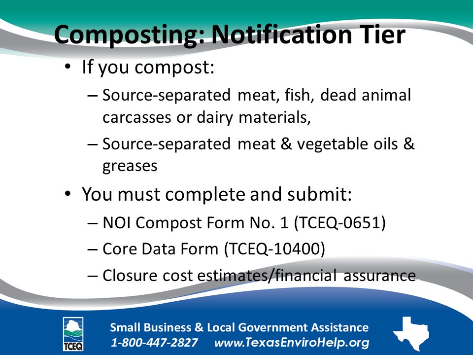 Composting: Notification Tier. If you compost:.