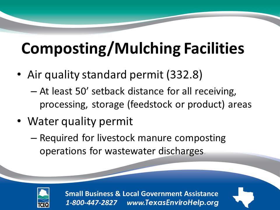 Composting/Mulching Facilities. Air quality standard permit (332.8).