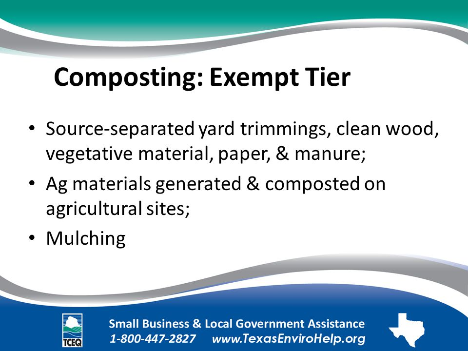 Composting: Exempt Tier.