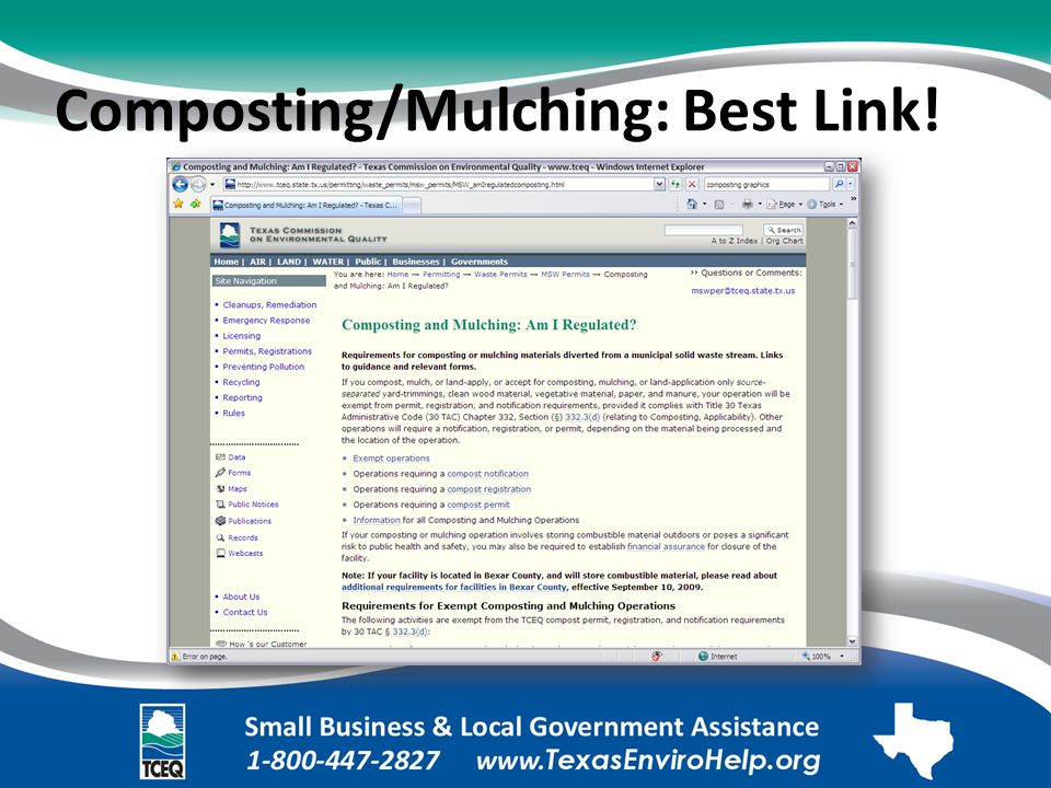 Composting/Mulching: Best Link!. Image of Web page: Composting and Mulching: Am I Regulated?