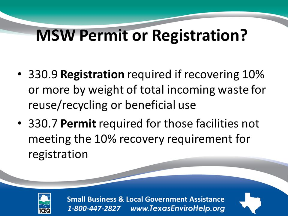 MSW Permit or Registration?.