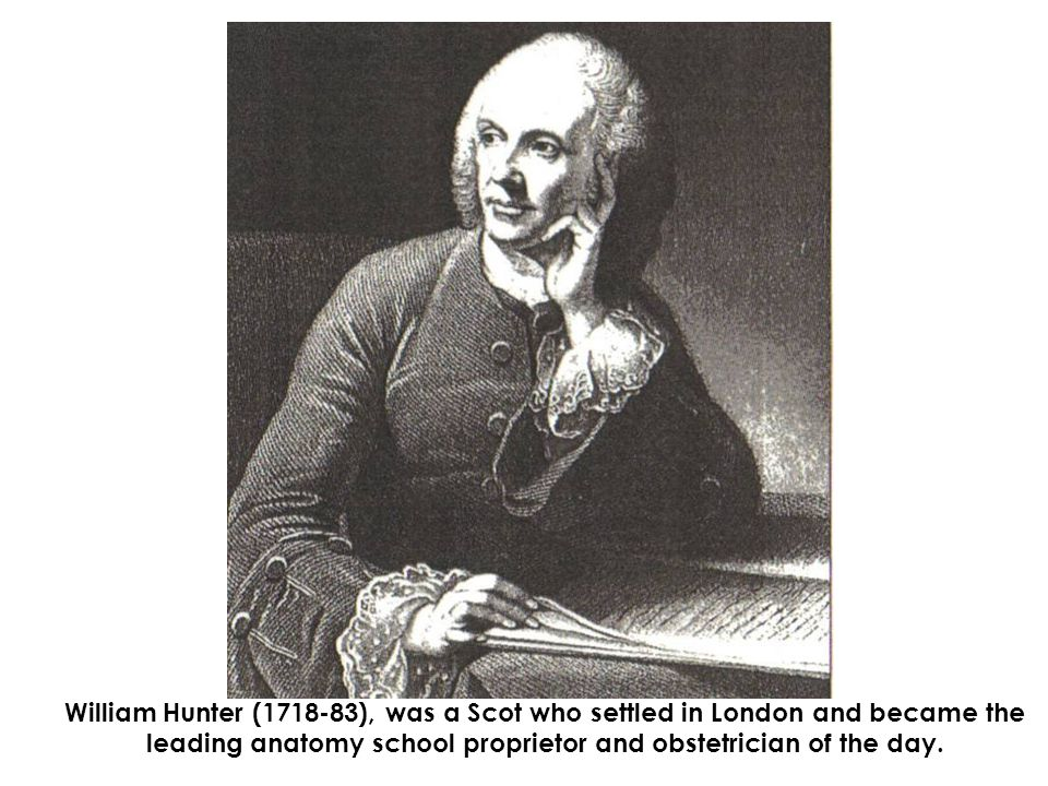 William Hunter (1718-1783) 1731-6 Attends Glasgow University but leaves without graduating 1737 Studies surgery in Hamilton with William Cullen; attends Alexander Monro s anatomy lectures in Edinburgh 1740 Moves to London and studies midwifery with William Smellie 1743 Starts lucrative practice as physician and accoucheur in London 1747 First anatomical lectures; elected member of Corporation of Surgeon 1748 Travels to Leiden and Paris 1749 Opens anatomy school in Covent Garden, London 1751 First lectures on anatomy at St.