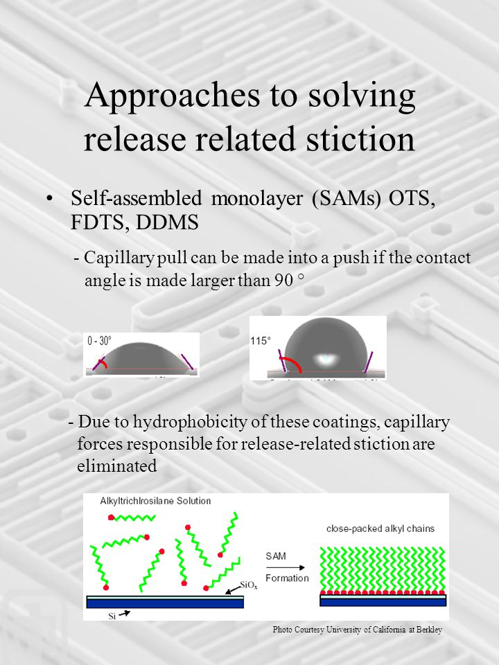 Approaches to solving release related stiction Self-assembled monolayer (SAMs) OTS, FDTS, DDMS - Capillary pull can be made into a push if the contact angle is made larger than 90 ° - Due to hydrophobicity of these coatings, capillary forces responsible for release-related stiction are eliminated Photo Courtesy University of California at Berkley