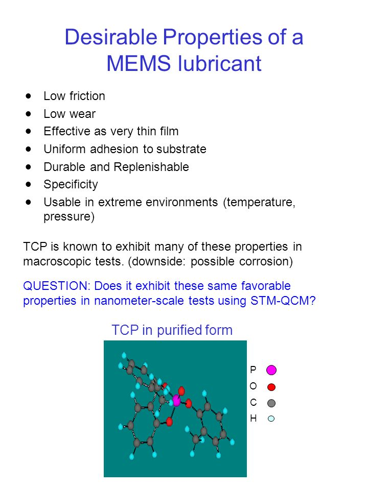Desirable Properties of a MEMS lubricant  Low friction  Low wear  Effective as very thin film  Uniform adhesion to substrate  Durable and Replenishable  Specificity  Usable in extreme environments (temperature, pressure) TCP is known to exhibit many of these properties in macroscopic tests.