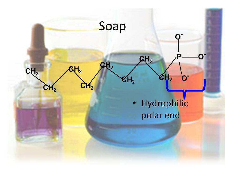 Soap Hydrophilic polar end PO-O- CH 3 CH 2 O-O- O-O-