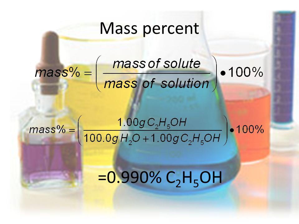 Mass percent =0.990% C 2 H 5 OH