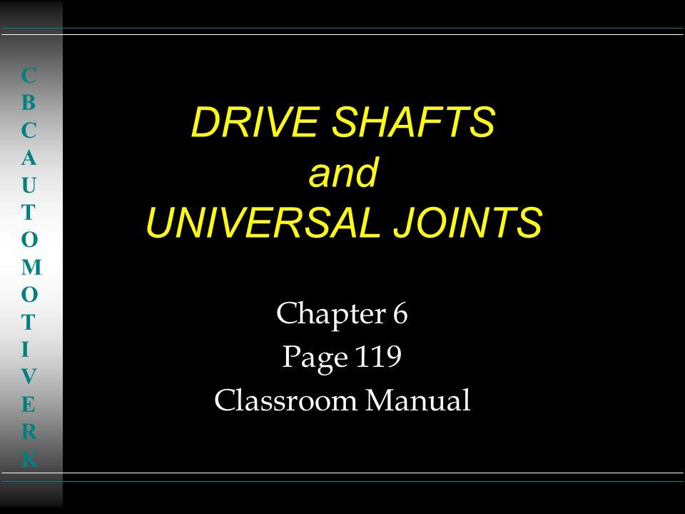 DRIVE SHAFTS and UNIVERSAL JOINTS Chapter 6 Page 119 Classroom Manual CBCAUTOMOTIVERKCBCAUTOMOTIVERK