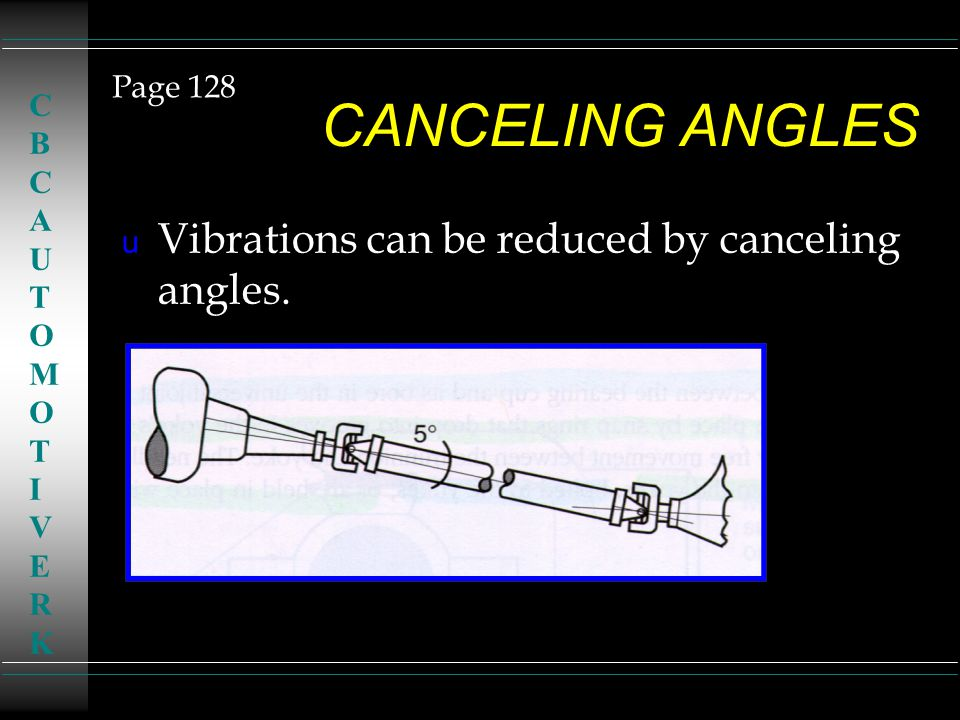 CANCELING ANGLES u Vibrations can be reduced by canceling angles. Page 128 CBCAUTOMOTIVERKCBCAUTOMOTIVERK