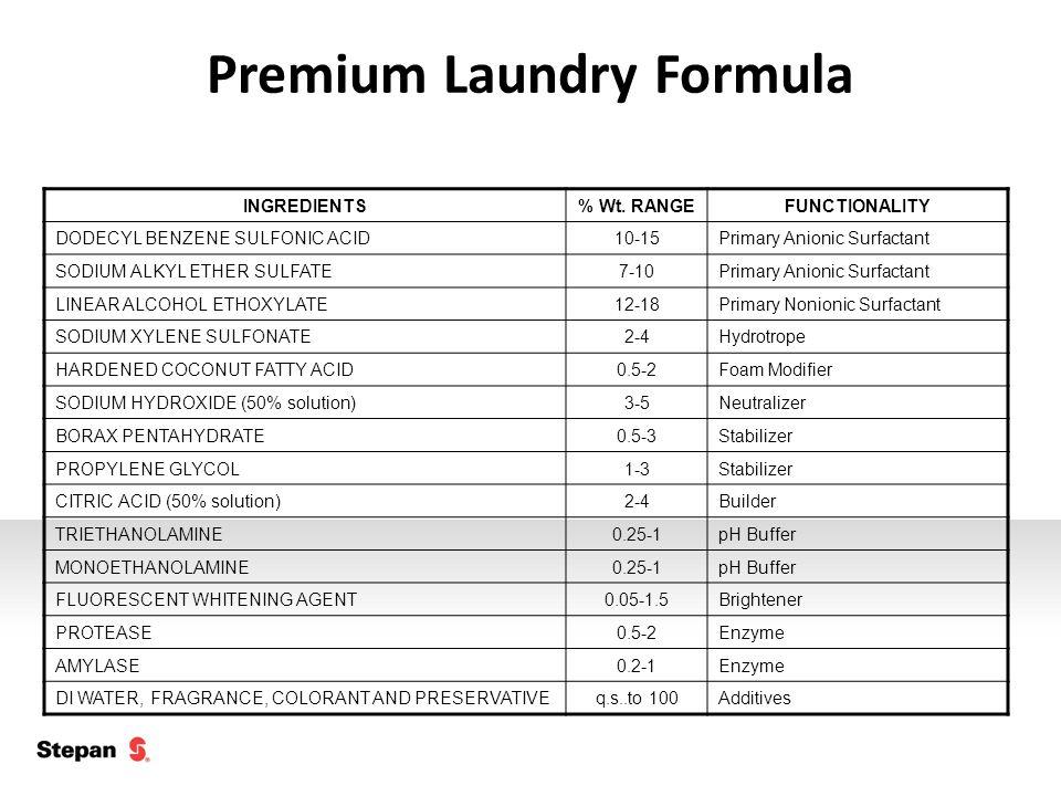 Premium Laundry Formula INGREDIENTS% Wt. RANGEFUNCTIONALITY DODECYL BENZENE SULFONIC ACID10-15Primary Anionic Surfactant SODIUM ALKYL ETHER SULFATE7-1