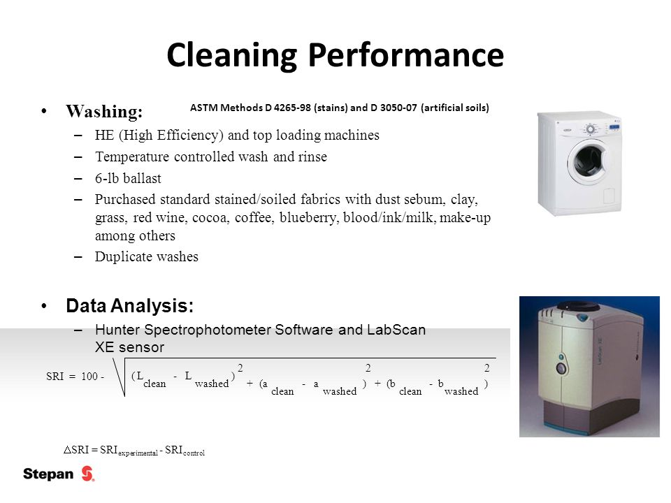 Cleaning Performance ASTM Methods D 4265-98 (stains) and D 3050-07 (artificial soils) Washing: – HE (High Efficiency) and top loading machines – Temperature controlled wash and rinse – 6-lb ballast – Purchased standard stained/soiled fabrics with dust sebum, clay, grass, red wine, cocoa, coffee, blueberry, blood/ink/milk, make-up among others – Duplicate washes Data Analysis: –Hunter Spectrophotometer Software and LabScan XE sensor SRI = 100 -L clean ( - L washed ) 2 +(a clean -a washed ) 2 + (b clean - b washed ) 2  SRI = SRI experimental - SRI control