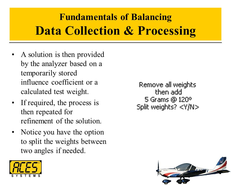 Fundamentals of Balancing Data Collection & Processing A solution is then provided by the analyzer based on a temporarily stored influence coefficient