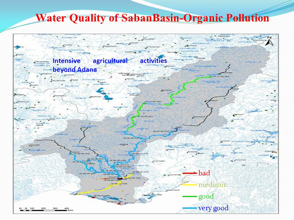 Water Quality of SabanBasin-Organic Pollution Intensive agricultural activities beyond Adana bad medium good very good
