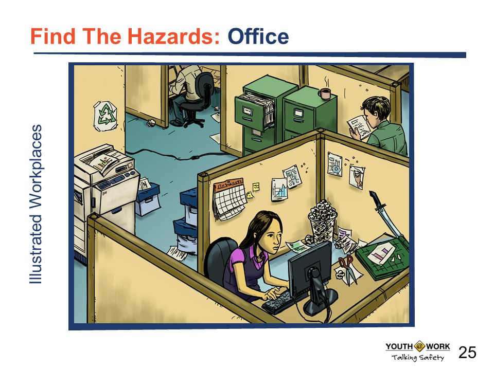 a Illustrated Workplaces Find The Hazards: Office 25