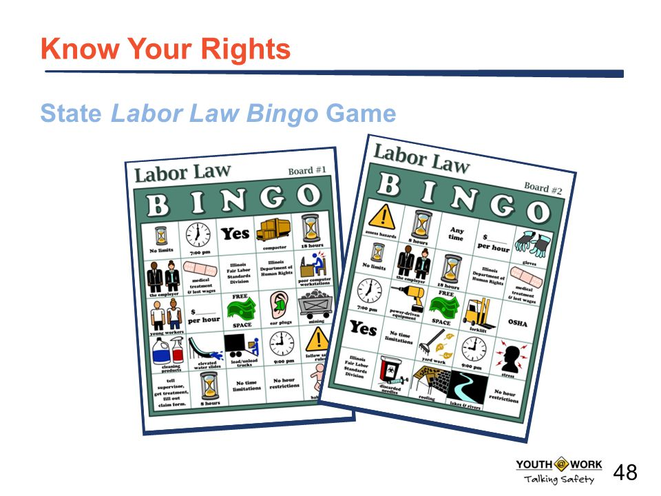 State Labor Law Bingo Game Know Your Rights 48