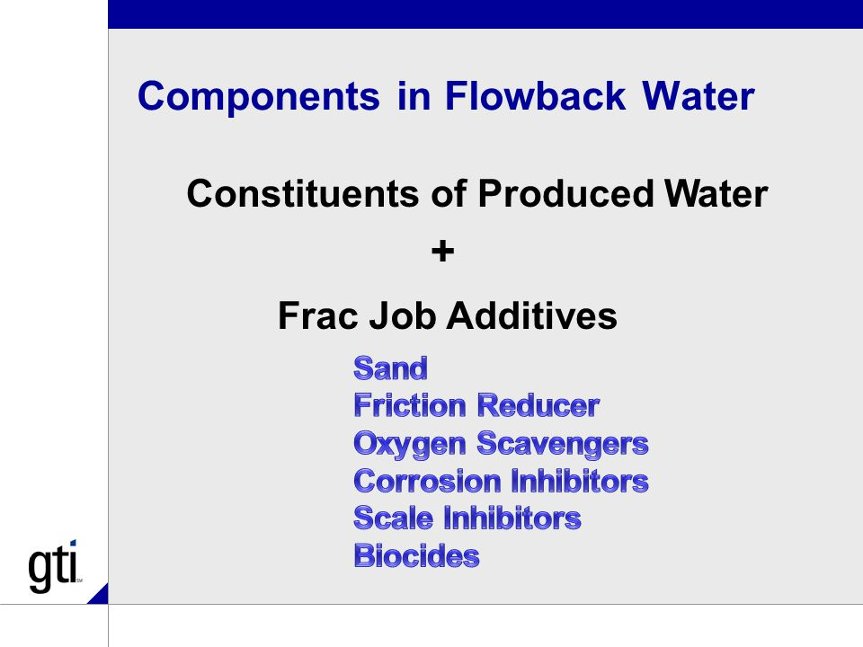 Components in Flowback Water Constituents of Produced Water Frac Job Additives +