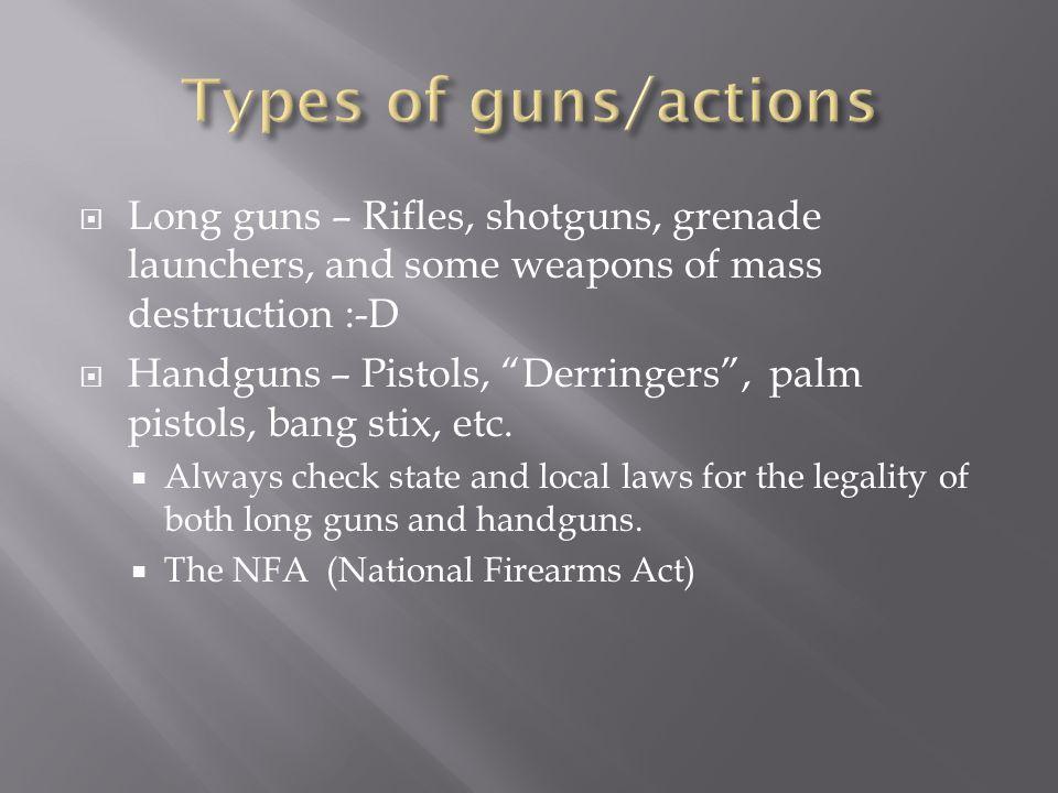 " Long guns – Rifles, shotguns, grenade launchers, and some weapons of mass destruction :-D  Handguns – Pistols, ""Derringers"", palm pistols, bang sti"