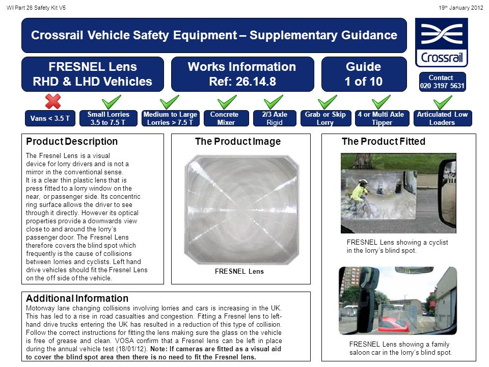 WI Part 26 Safety Kit V519 th January 2012 Crossrail Vehicle Safety Equipment – Supplementary Guidance Side Under run Guards Works Information Ref: 26.14.10 The Product Image The Product FittedProduct Description Additional Information Guide 2 of 10 Lorry side under-run guards fill the space between the front and rear axles on large goods vehicles so that if, for example, a turning lorry hits a cyclist who is on the nearside of the vehicle, they are pushed aside, instead of being dragged under the vehicle.