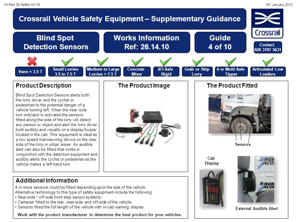 WI Part 26 Safety Kit V519 th January 2012 Crossrail Vehicle Safety Equipment – Supplementary Guidance Additional Blind Spot Detection Kit Works Information Ref: 26.14.10 External Fitting The Product in CabProduct Descriptions Additional Information Guide 5 of 10 Vans < 3.5 T Small Lorries 3.5 to 7.5 T Medium to Large Lorries > 7.5 T Concrete Mixer 2/3 Axle Rigid Grab or Skip Lorry 4 or Multi Axle Tipper Articulated Low Loaders Other driver warning systems include: A.Near-side / off-side front step sensor systems; B.Cameras fitted to the rear, near- side and off-side of the vehicle; C.Sensors fitted the full length of the vehicle with in-cab warning display.
