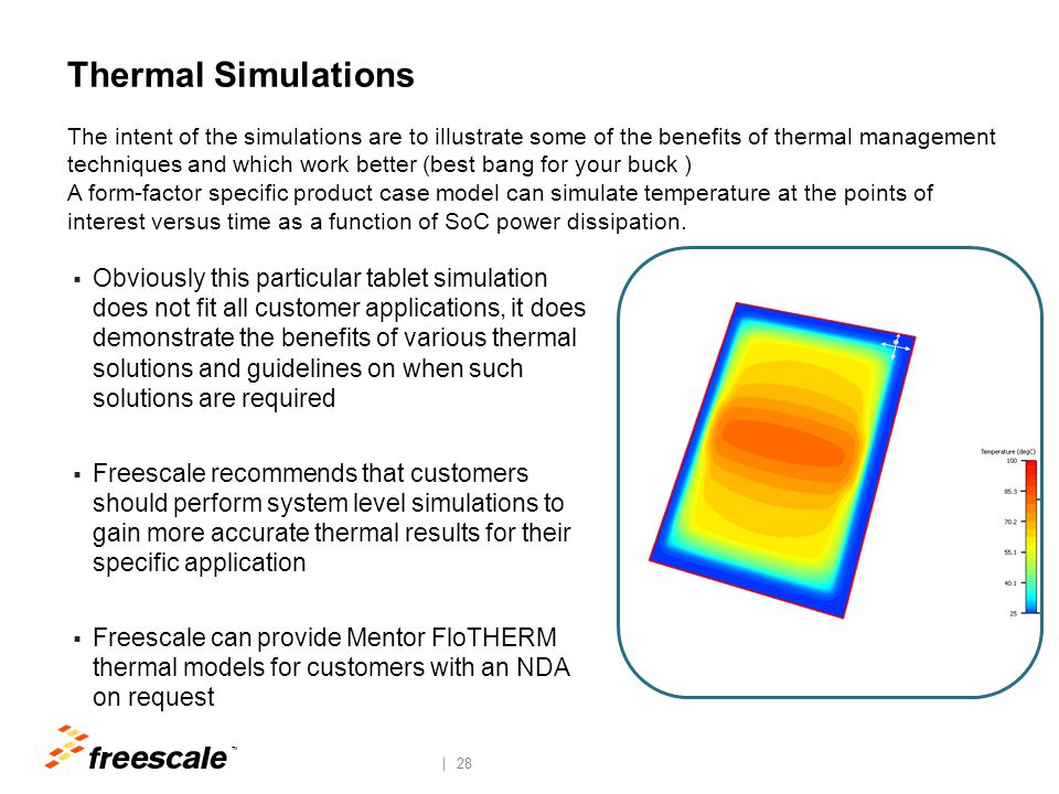 TM 28 Thermal Simulations  Obviously this particular tablet simulation does not fit all customer applications, it does demonstrate the benefits of va