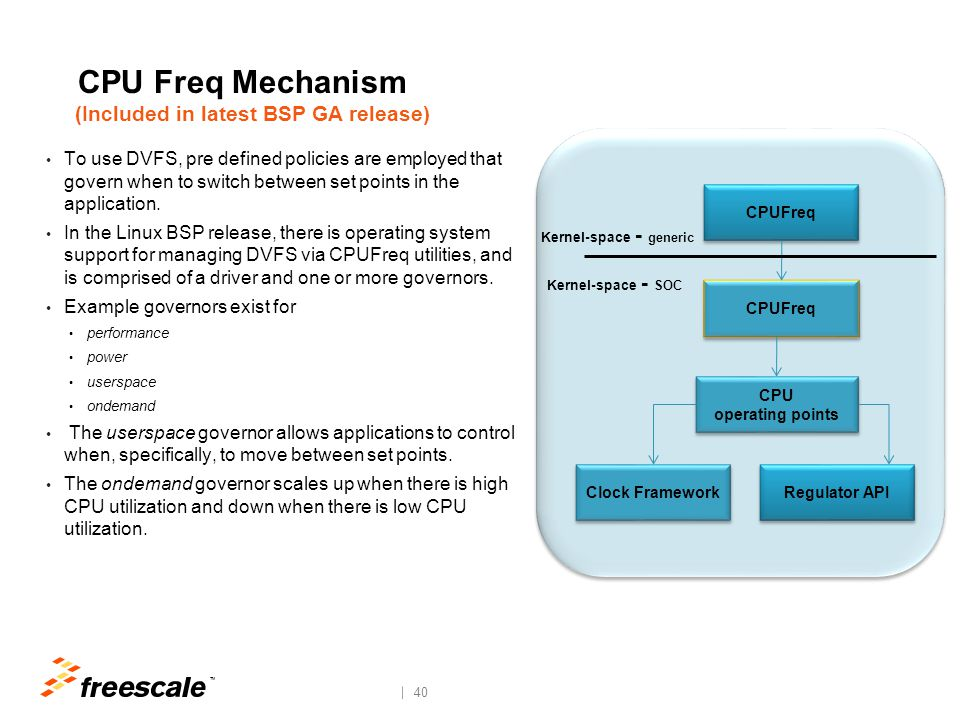 TM 40 CPU Freq Mechanism (Included in latest BSP GA release) To use DVFS, pre defined policies are employed that govern when to switch between set poi