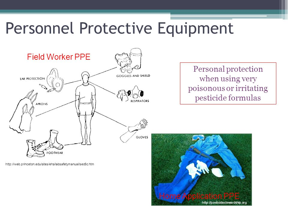 Personnel Protective Equipment Personal protection when using very poisonous or irritating pesticide formulas Field Worker PPE Home Application PPE