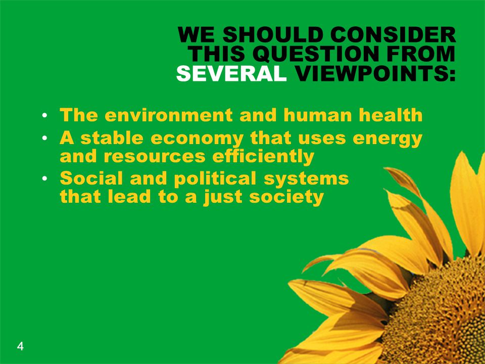 WE SHOULD CONSIDER THIS QUESTION FROM SEVERAL VIEWPOINTS: The environment and human health A stable economy that uses energy and resources efficiently Social and political systems that lead to a just society 4