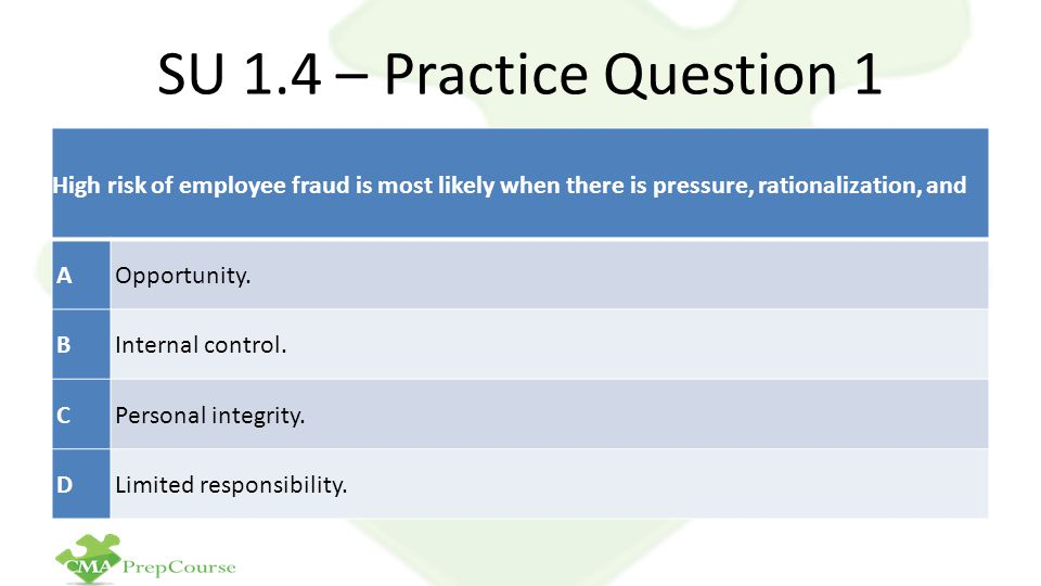 SU 1.4 – Practice Question 1 High risk of employee fraud is most likely when there is pressure, rationalization, and AOpportunity.