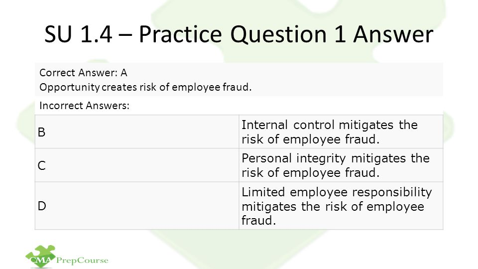 SU 1.4 – Practice Question 1 Answer Correct Answer: A Opportunity creates risk of employee fraud.