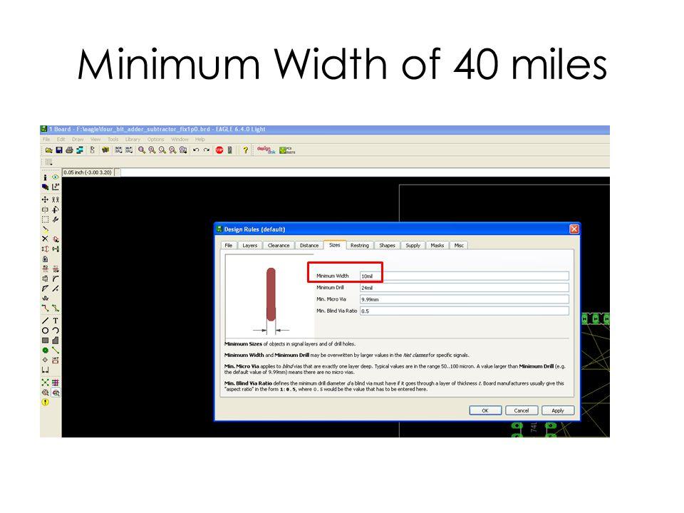 Minimum Width of 40 miles