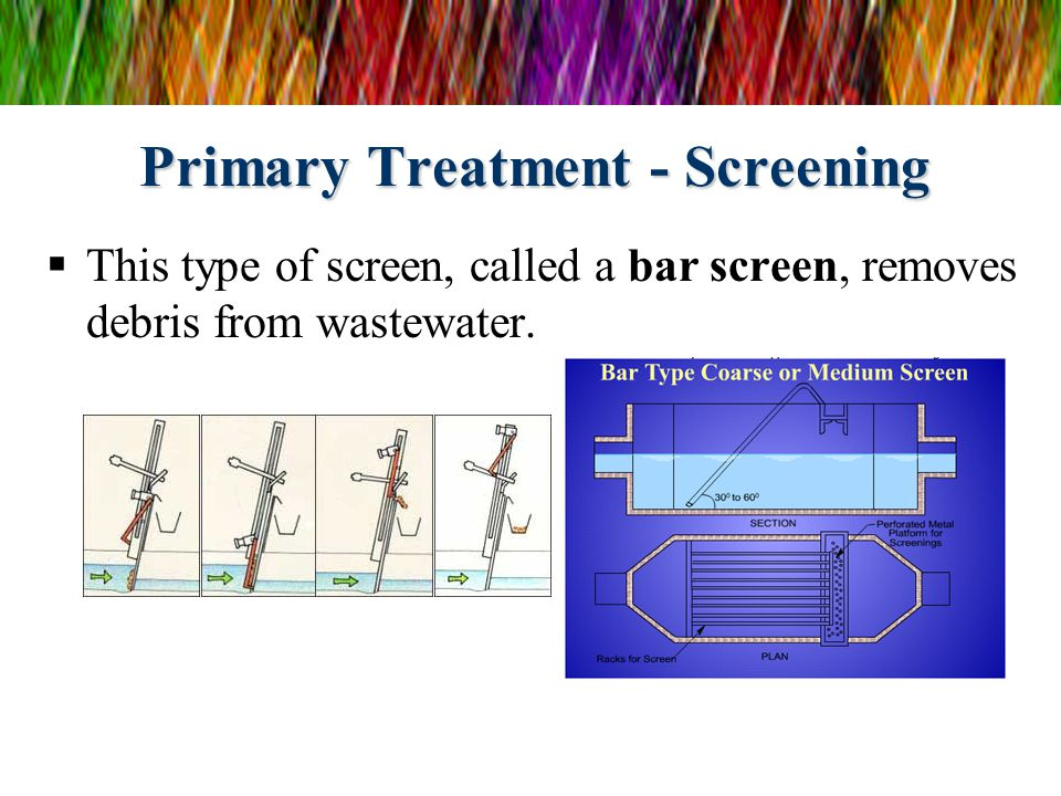 Primary Treatment - Screening  This type of screen, called a bar screen, removes debris from wastewater.
