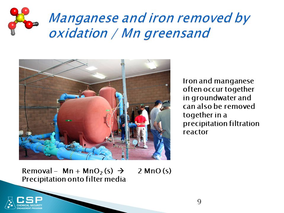 9 Removal - Mn + MnO 2 (s)  2 MnO (s) Precipitation onto filter media Iron and manganese often occur together in groundwater and can also be removed together in a precipitation filtration reactor