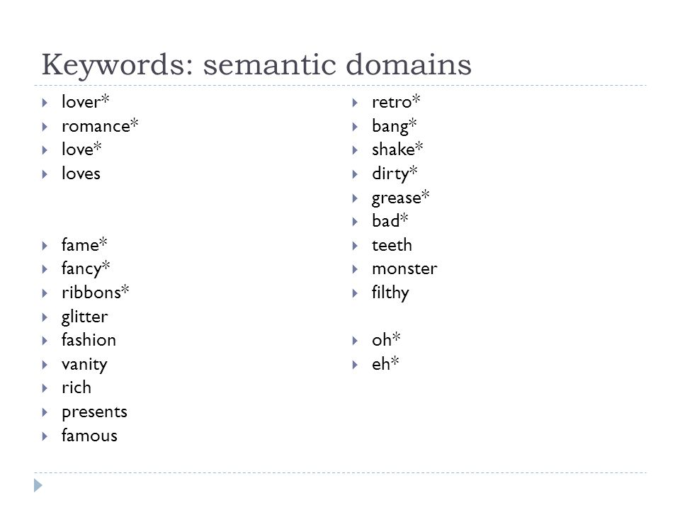 Keywords: semantic domains  lover*  romance*  love*  loves  fame*  fancy*  ribbons*  glitter  fashion  vanity  rich  presents  famous  retro*  bang*  shake*  dirty*  grease*  bad*  teeth  monster  filthy  oh*  eh*