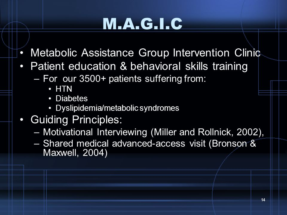 14 M.A.G.I.C Metabolic Assistance Group Intervention Clinic Patient education & behavioral skills training –For our 3500+ patients suffering from: HTN Diabetes Dyslipidemia/metabolic syndromes Guiding Principles: –Motivational Interviewing (Miller and Rollnick, 2002), –Shared medical advanced-access visit (Bronson & Maxwell, 2004)