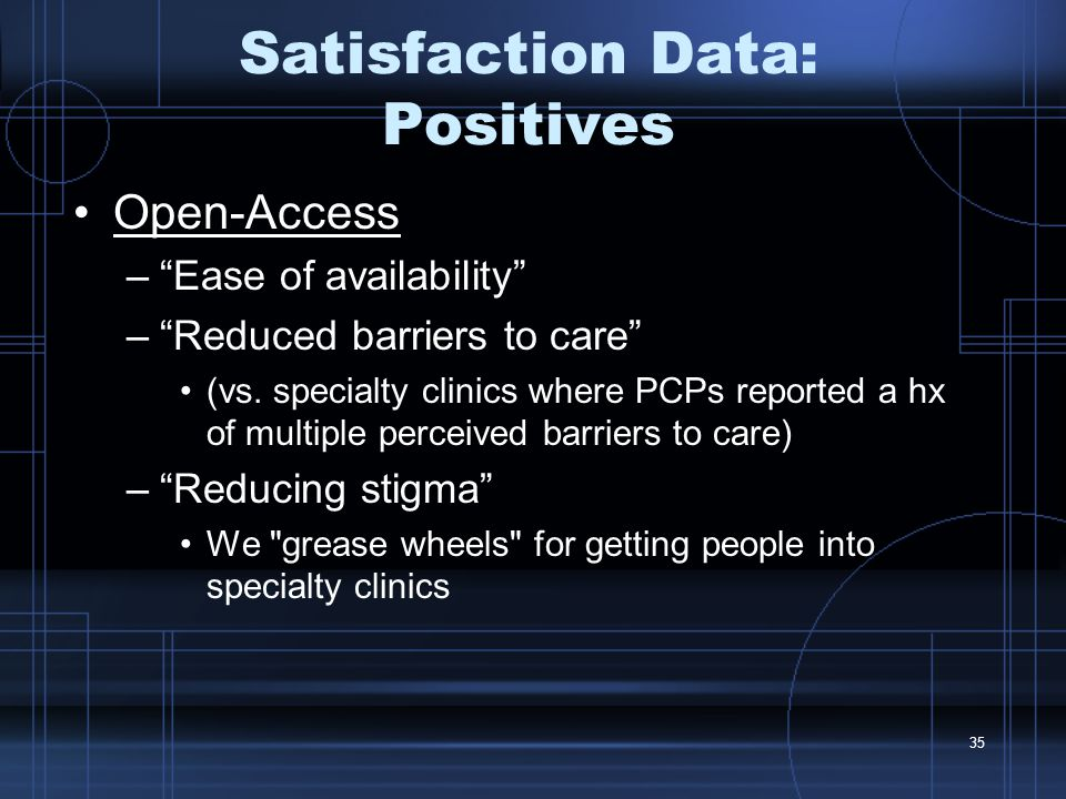 35 Satisfaction Data: Positives Open-Access – Ease of availability – Reduced barriers to care (vs.