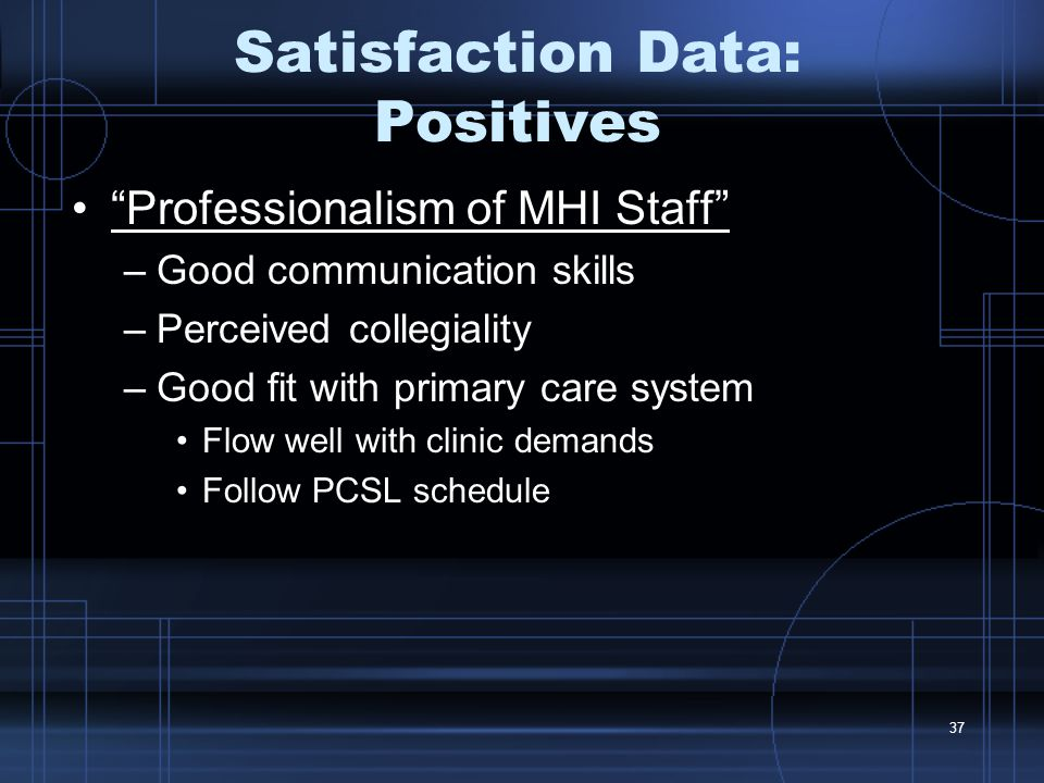 37 Satisfaction Data: Positives Professionalism of MHI Staff –Good communication skills –Perceived collegiality –Good fit with primary care system Flow well with clinic demands Follow PCSL schedule