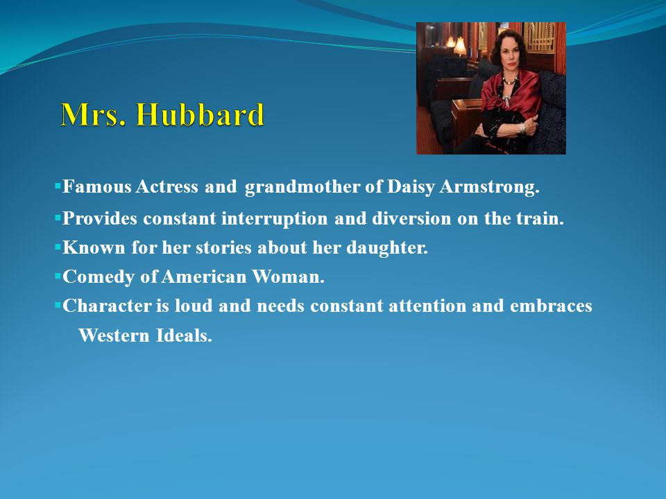  Famous Actress and grandmother of Daisy Armstrong.  Provides constant interruption and diversion on the train.  Known for her stories about her da