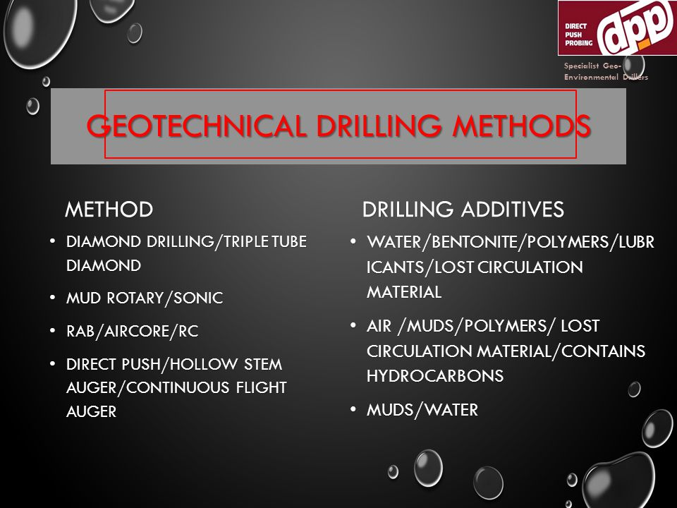 GEOTECHNICAL DRILLING METHODS METHOD DIAMOND DRILLING/TRIPLE TUBE DIAMOND DIAMOND DRILLING/TRIPLE TUBE DIAMOND MUD ROTARY/SONIC MUD ROTARY/SONIC RAB/AIRCORE/RC RAB/AIRCORE/RC DIRECT PUSH/HOLLOW STEM AUGER/CONTINUOUS FLIGHT AUGER DIRECT PUSH/HOLLOW STEM AUGER/CONTINUOUS FLIGHT AUGER DRILLING ADDITIVES WATER/BENTONITE/POLYMERS/LUBR ICANTS/LOST CIRCULATION MATERIAL WATER/BENTONITE/POLYMERS/LUBR ICANTS/LOST CIRCULATION MATERIAL AIR /MUDS/POLYMERS/ LOST CIRCULATION MATERIAL/CONTAINS HYDROCARBONS AIR /MUDS/POLYMERS/ LOST CIRCULATION MATERIAL/CONTAINS HYDROCARBONS MUDS/WATER MUDS/WATER Specialist Geo- Environmental Drillers