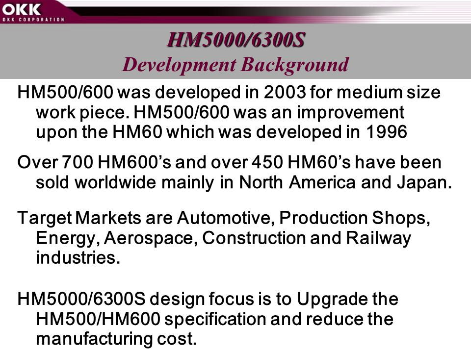 HM500/600 was developed in 2003 for medium size work piece.