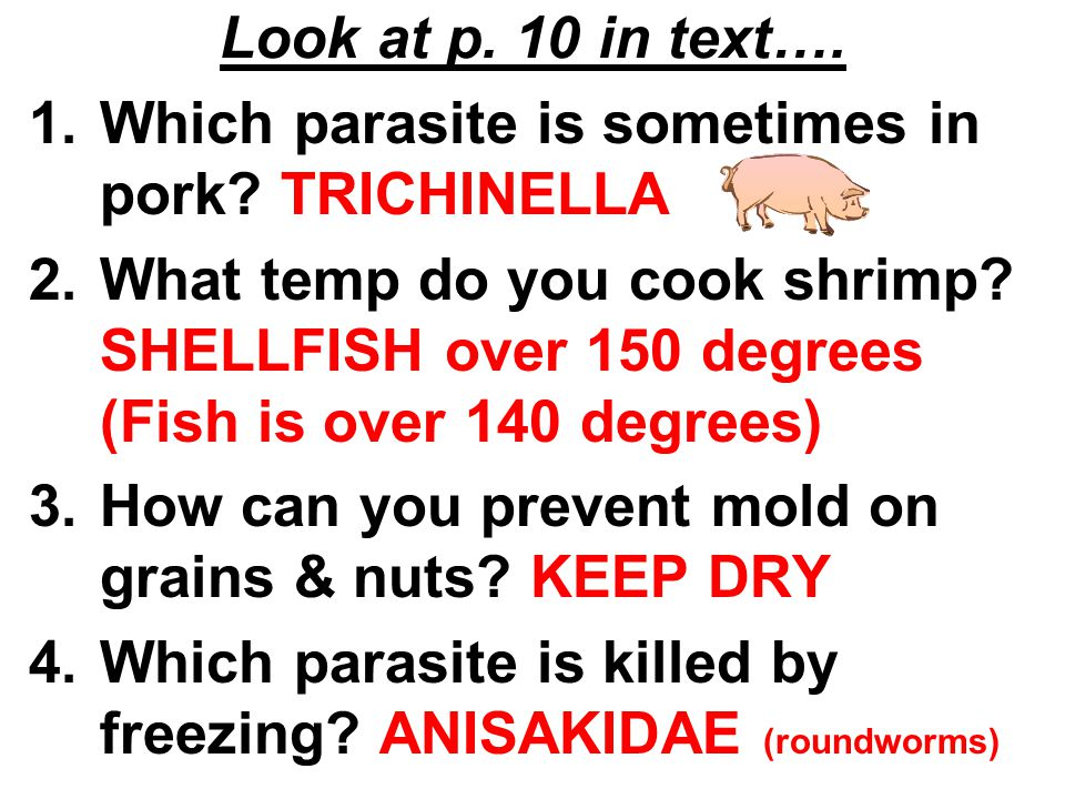 Look at p. 10 in text…. 1.Which parasite is sometimes in pork? TRICHINELLA 2.What temp do you cook shrimp? SHELLFISH over 150 degrees (Fish is over 14