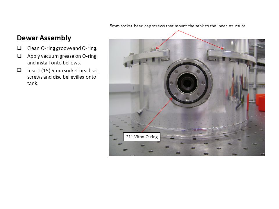 Dewar Assembly  Clean O-ring groove and O-ring.