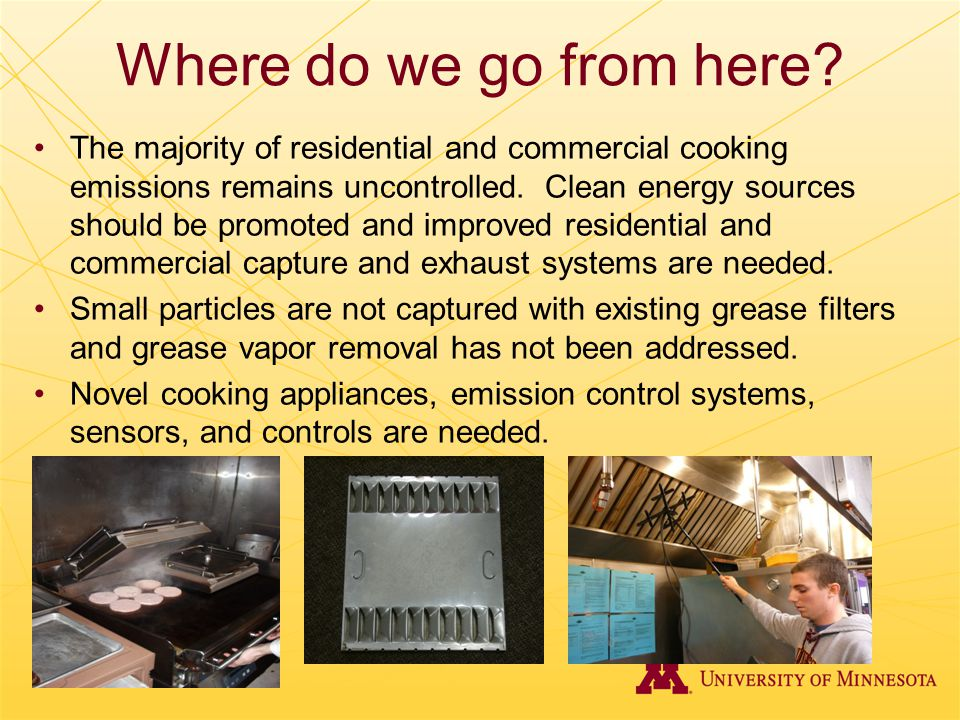 Where do we go from here? The majority of residential and commercial cooking emissions remains uncontrolled. Clean energy sources should be promoted a