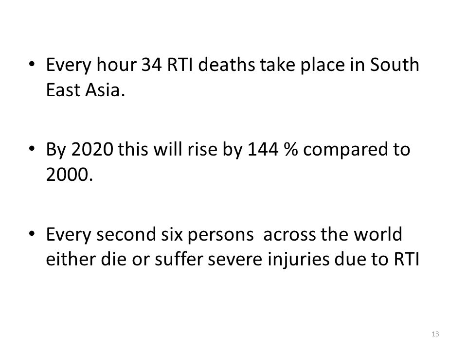 Every hour 34 RTI deaths take place in South East Asia.