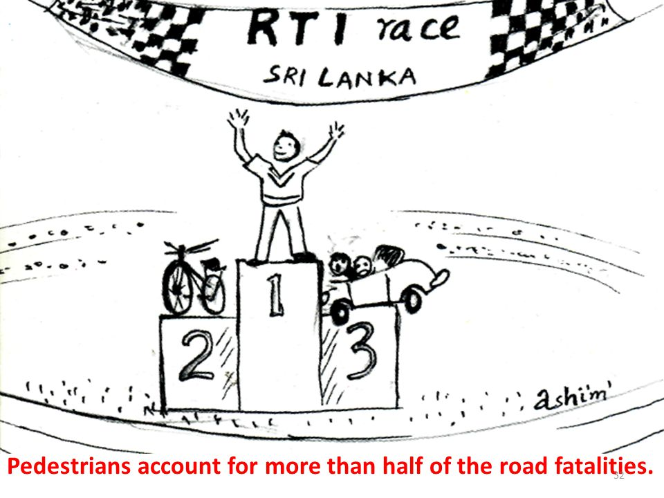 Pedestrians account for more than half of the road fatalities. 32
