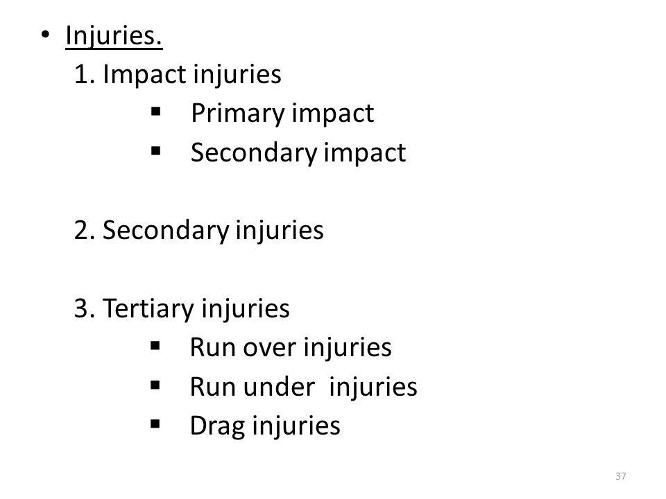 Injuries.1. Impact injuries  Primary impact  Secondary impact 2.