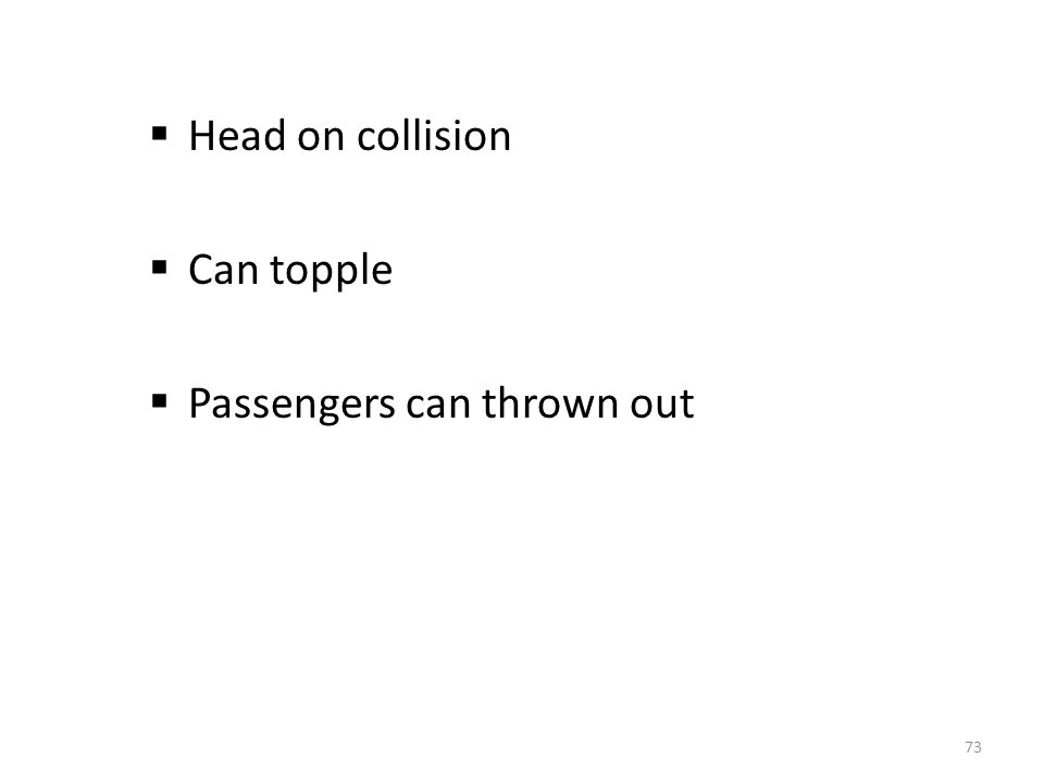  Head on collision  Can topple  Passengers can thrown out 73