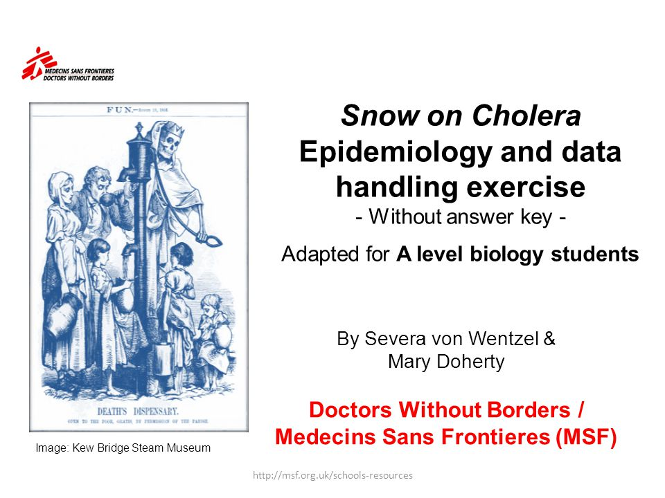 Snow on Cholera Epidemiology and data handling exercise - Without answer key - Adapted for A level biology students By Severa von Wentzel & Mary Doher