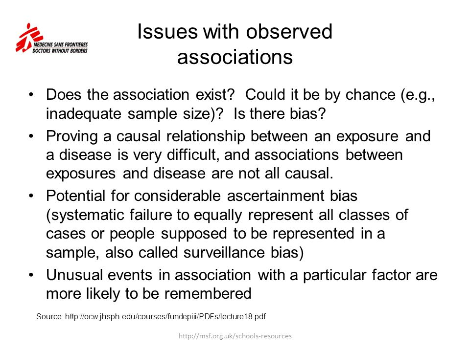Issues with observed associations Does the association exist? Could it be by chance (e.g., inadequate sample size)? Is there bias? Proving a causal re